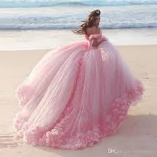 romantic pink wedding dresses princess ball gowns 3d floral
