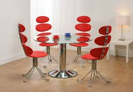 unusual dining furniture. Dining Room, Adorable Unusual Chairs With Red Color Contemporary Stylish And Round Table Glass Furniture