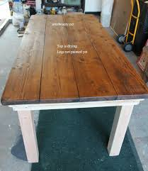 diy farmhouse table with provincial stained top featured on remodelaholic com