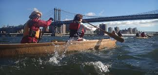 in 2016 members of mare liberum cirnavigated manhattan in paper canoes to raise awareness of