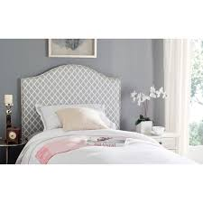 safavieh connie grey white camelback upholstered headboard