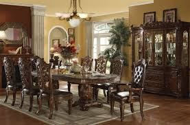 acme vendome dining set formidable 7 piece double pedestal table in cherry finish by interior design