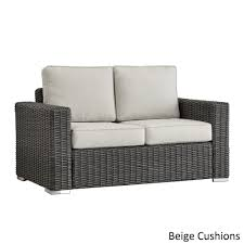 Barbados Wicker Outdoor Cushioned Grey Charcoal Loveseat with Square Arm  iNSPIRE Q Oasis (RED cushion), Black, Size Single, Patio Furniture  (Aluminum)