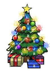 christmas tree with presents and lights clip art. Decorated Christmas Tree Illuminated With Lights And Gifts At Its Base Royaltyfree Stock Vector Clipart Image Of For Presents Clip Art