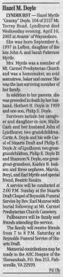 Obituary for Hazel Myrtle Doyle, 1897-2002 (Aged 104) - Newspapers.com