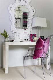 dana wolter fabulous girls room with white baroque mirror over west elm parsons desk paired with ghost chair accented with pink linen pillow
