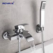 compare rovate bathtub shower set wall mounted bath faucet waterfall bathroom cold and hot mixer taps brass chrome in singapore
