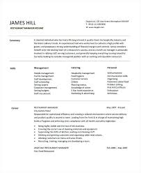 resume for restaurant resume for restaurant manager resume templates within restaurant