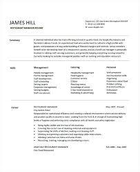resume for restaurant resume for restaurant manager resume templates within restaurant