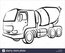 truck drawing outline. Delighful Outline Isolated Illustration Of The Building Mixer For Concrete Sketch  Stock  Image With Truck Drawing Outline H