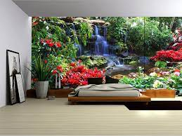 Forest Waterfall and Flowers Wallpaper ...