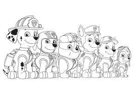 Disegno Della Squadra Dei Cuccioli Paw Patrol Da Colorare