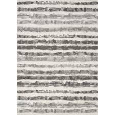 5 x 8 medium white and grey striped area rug focus