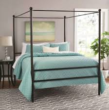 METAL CANOPY BED Frame Queen Size With Headboard Slatted Frames Modern Bedroom