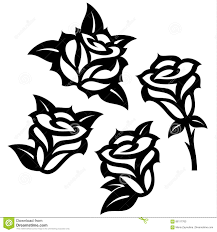Simple Stencil Designs Set Of Black Roses Templates Designs Stock Vector