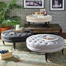 tufted linen round ottoman bench by inspire q artisan coffee table rectangle