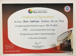 Certificate Of Appreciate Certificate Of Appreciation Ohum Healthcare Solutions