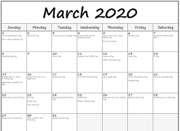 Free Printable March Holidays 2020 Calendar In Us Uk