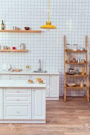 Modern Kitchen Shelves Design Modern Kitchen Design With Wooden Shelves And White Tile On Background
