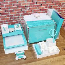 cool aqua and white desk accessories from poppin russell hazel and more chic mint teal office