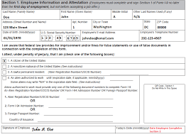 employment information sheet completing section 1 employee information and attestation uscis