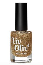 livoliv free nail polish glitter gold dame dazzle bottle swatch
