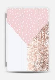 modern color block blush pink hand drawn polka dots rose gold fl mandala transpa ipad mini case by y trend