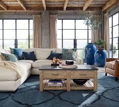 informative pottery barn blue rug tonal tile tufted ca