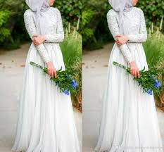 muslim wedding dresses with hijab simple pure white beaded c