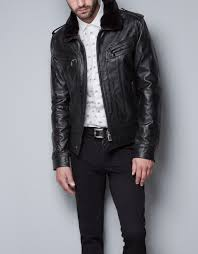 zara fur collar detachable leather jacket in black for men