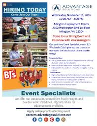 advantage solutions hiring event for bjs whole event as job fair arlington va 11 16 16