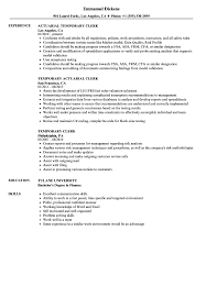 Temporary Clerk Resume Samples Velvet Jobs