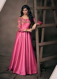 Satin Silk Dress Designs Exclusive Satin Silk New Designer Embroidery Work Gowns