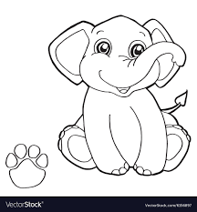 Paw Print With Elephant Coloring Pages Royalty Free Vector