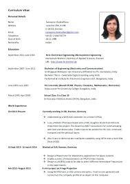 Combined Sample German Resume Template Cv Doc Download