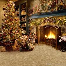 photo studio christmas background.  Studio 2018 Indoor Fireplace Photography Backdrops Christmas Tree Decorated Family  Gifts Children Kid Holiday Studio Photo Shoot Background Vinyl Fabric From  And T