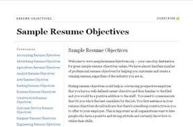 Sample Resume Objectives Sample Objective For Resume Resume Templates 9