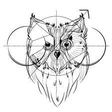 Tattoo эскизы для тату сова в стиле геометрия