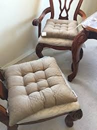 large size set of 4 peat taupe soft micro suede fully quilted dining chair cushion