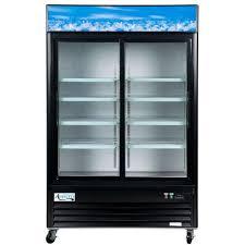 avantco stainless steel glass door refrigerator double door