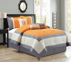 piece color block orange gray comforter set and twin bedding ki large size