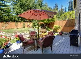 Landscape Deck And Patio Designer Beautiful Landscape Design Backyard Garden Patio Stock Photo