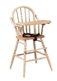whitewood high chair with flip tray and safety strap