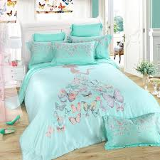 turquoise grey and pink erfly print little girl pattern contemporary modern princess style 100 tencel full queen size bedding sets