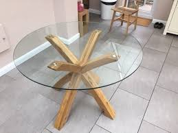 next glass oak round dining table