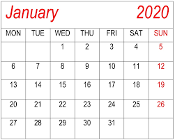 Printable Calendars 2020 With Holidays January 2020 Calendar Excel Pdf Template Free Latest