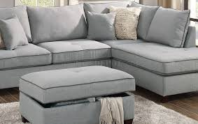 gray fabric sectional sofa. F6543 Sectional Sofa In Light Grey Fabric By Boss W Ottoman Gray F