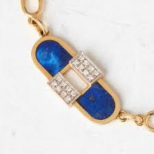 cartier 18k yellow gold lapis lazuli diamond vintage necklace