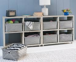 Shelves, Shelving Unit With Baskets Storage Cabinets With Wicker Baskets  Books Vase Lamp Yarn: ...