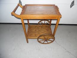 antique vintage oak rolling bar cart tea cart with removable tray